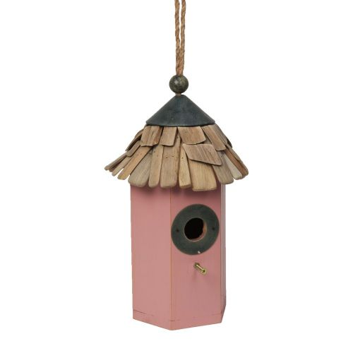 Pink Wooden Bird House  - Rustic Design Hexagonal Hanging Bird House Garden Feeder